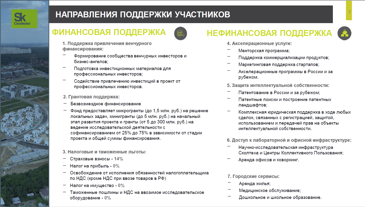 Поддержка участников Сколково